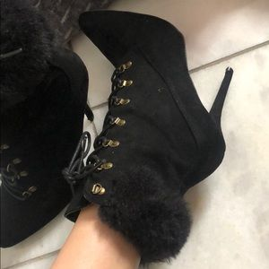 Fluffy lace up boot heels :)